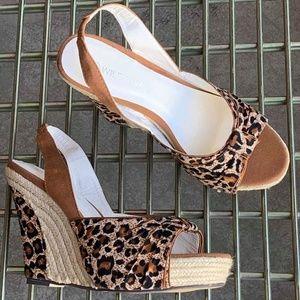 Leopard Print Espadrille Wedge Sandals 5.5